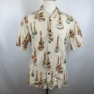 Vtg Hilo Hattie Guitars Beach Hawaiian Camp Shirt